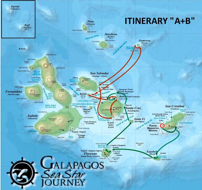 Galapagos Sea Star Journey   Itinerary A+B
