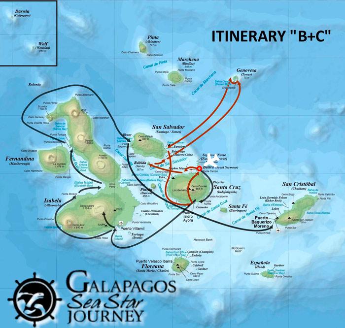 Galapagos Sea Star Journey   Itinerary B+C