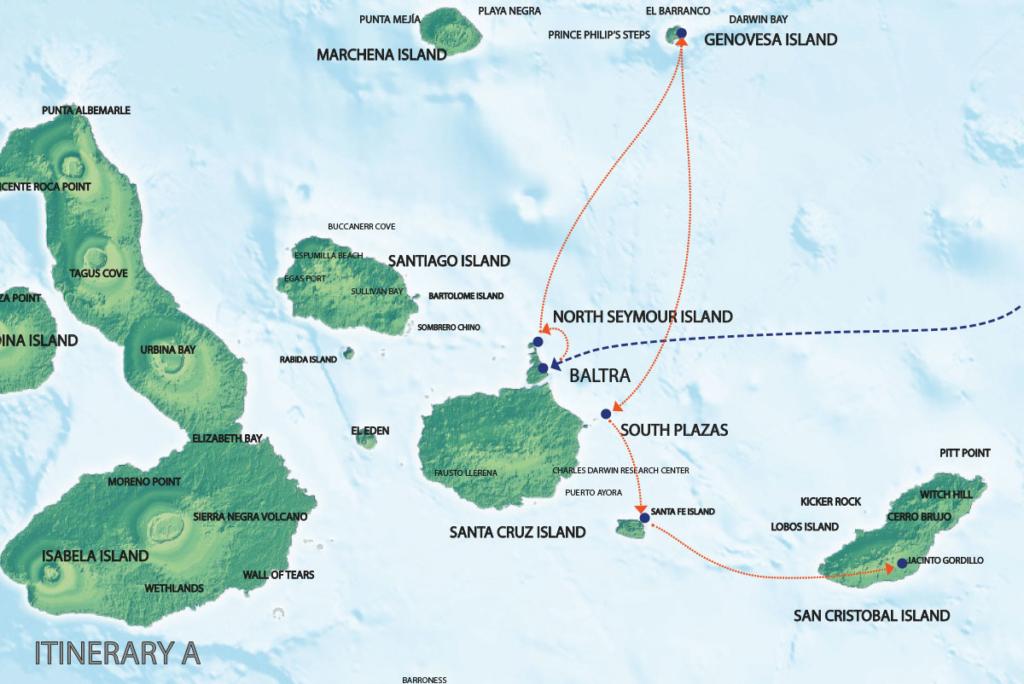 Galapagos Map   Seaman Itinerary A1