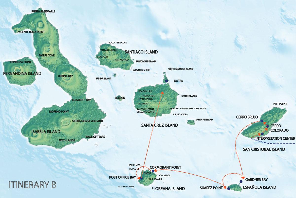 Galapagos Map | Seaman Itinerary B1