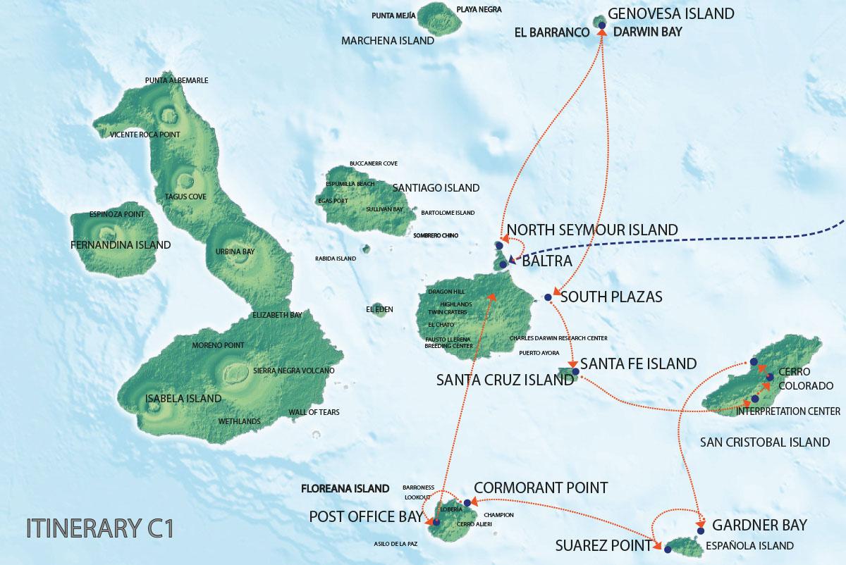 Galapagos Map   Seaman Journey C1 Itinerary