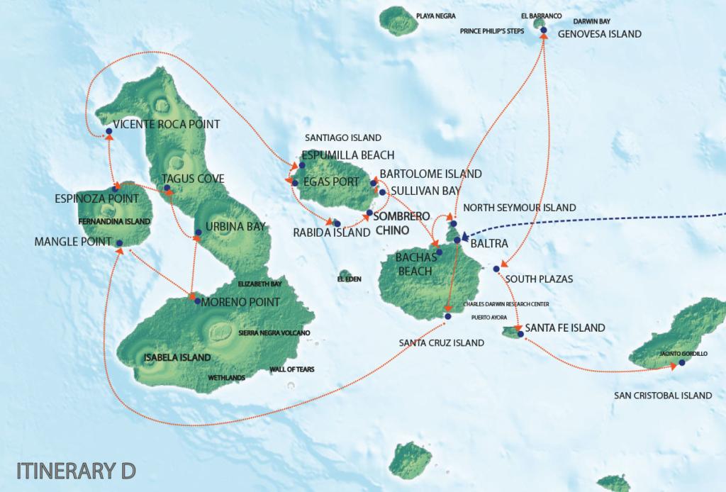 Galapagos Map   Seaman Journey D Itinerary
