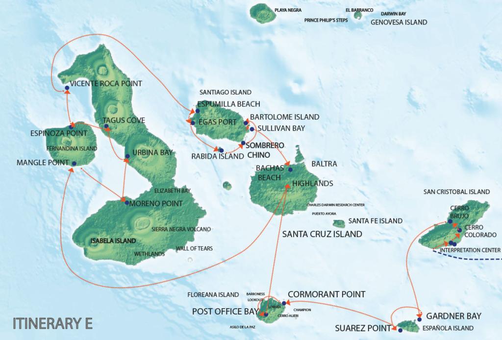Galapagos Map  Seaman Journey E itinerary