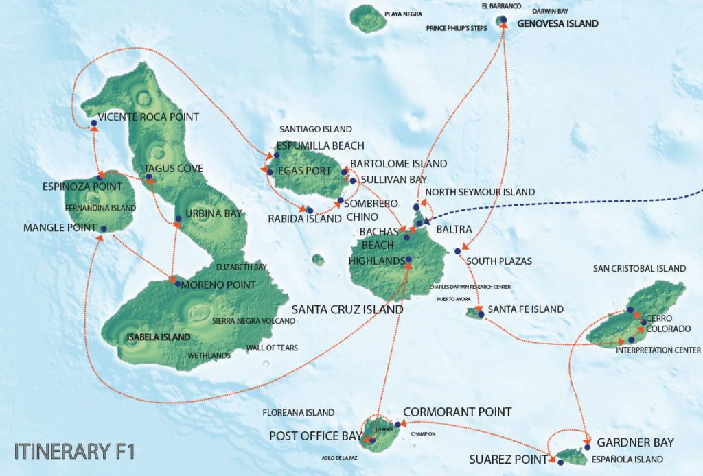 Galapagos Map | Seaman Journey F1 Itinerary