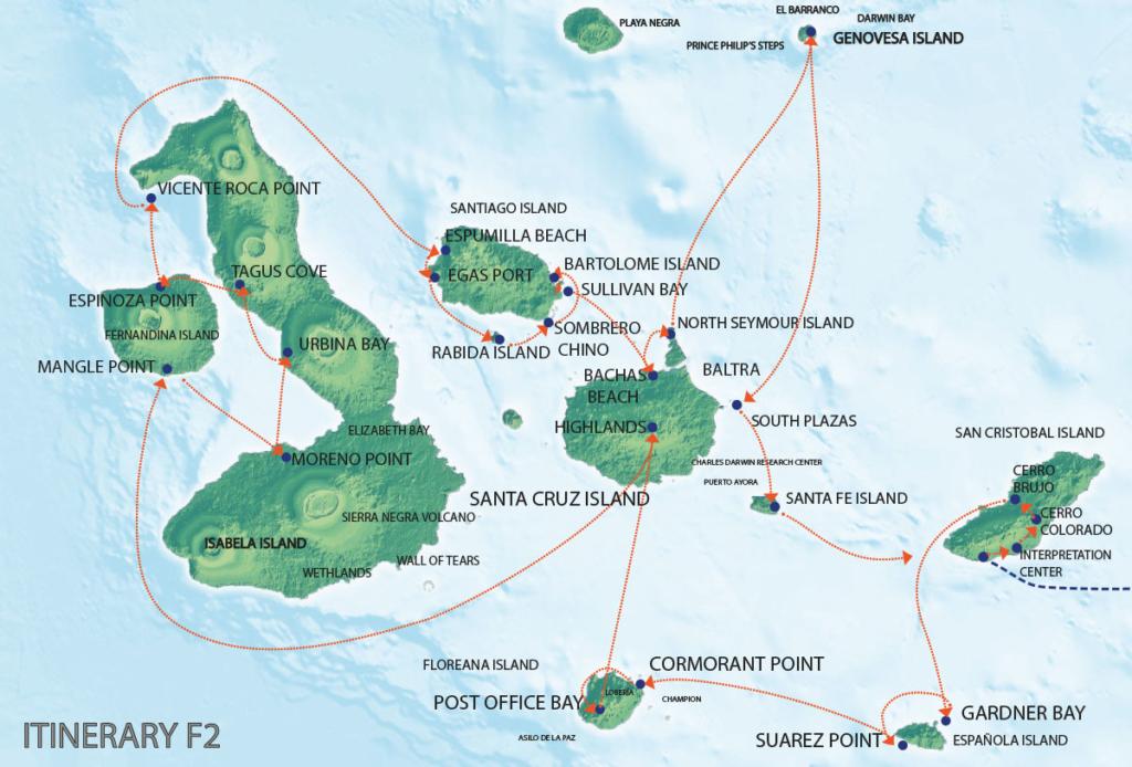 Galapagos Map | Seaman Journey F2 Itinerary